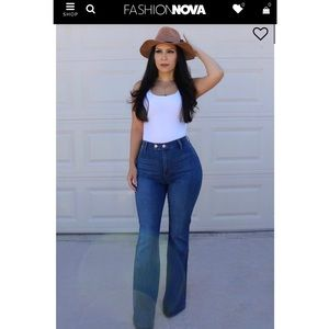 FASHION NOVA Dark High Waist Flare Jean - Size 9